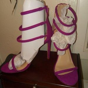 Liliana fuchsia triple ankle-strap heels